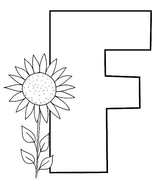 Coloriage Alphabet Fleur.Coloriage L Alphabet La Lettre F De Fleur Dessin Gratuit A Imprimer
