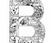 Coloriage et dessins gratuit La Lettre B de l'Alphabet et animaux à imprimer