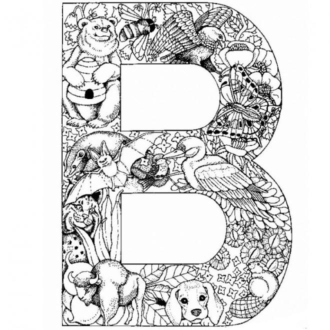 Coloriage la lettre b de l 39 alphabet et animaux dessin - Coloriage magique alphabet ...