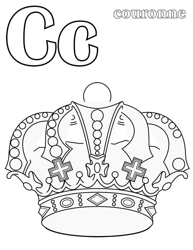 Coloriage et dessins gratuits La lettre C de Couronne à imprimer