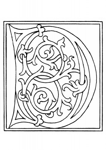 Coloriage et dessins gratuits La Lettre D Manuscript à imprimer