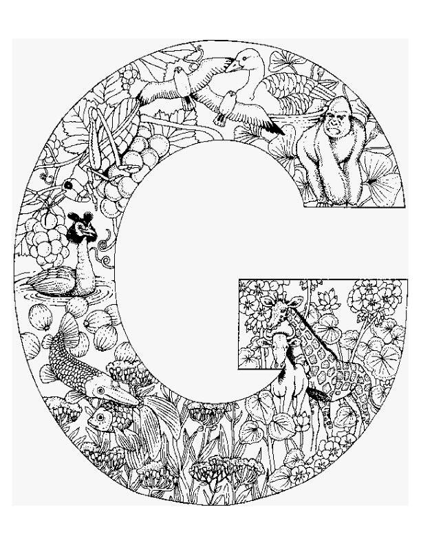Coloriage et dessins gratuits La Lettre G et Les Animaux à imprimer
