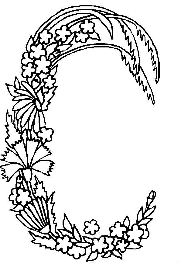 Coloriage lettre c en forme de plante dessin gratuit - Coloriage fleurs et plantes a imprimer ...