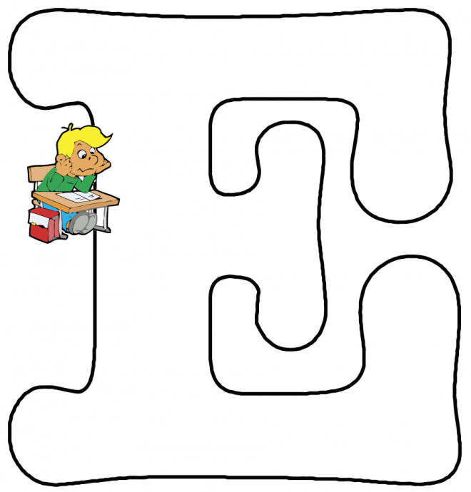 Coloriage et dessins gratuits Lettre E pour École à imprimer