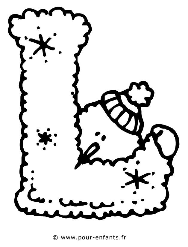 Coloriage Lettre L Et Bonhomme De Neige Dessin Gratuit à Imprimer