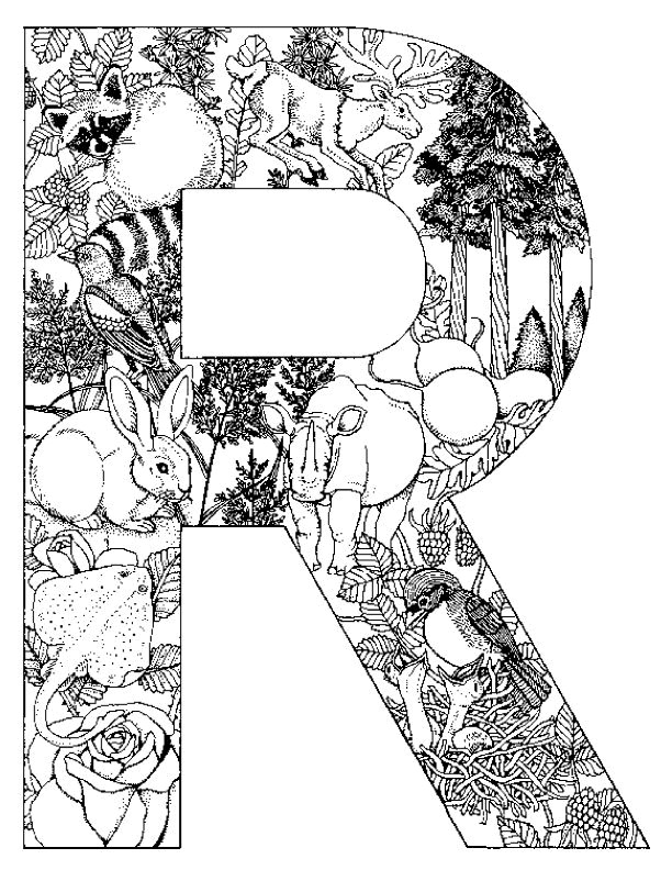 Coloriage et dessins gratuits Lettre R et animaux à imprimer