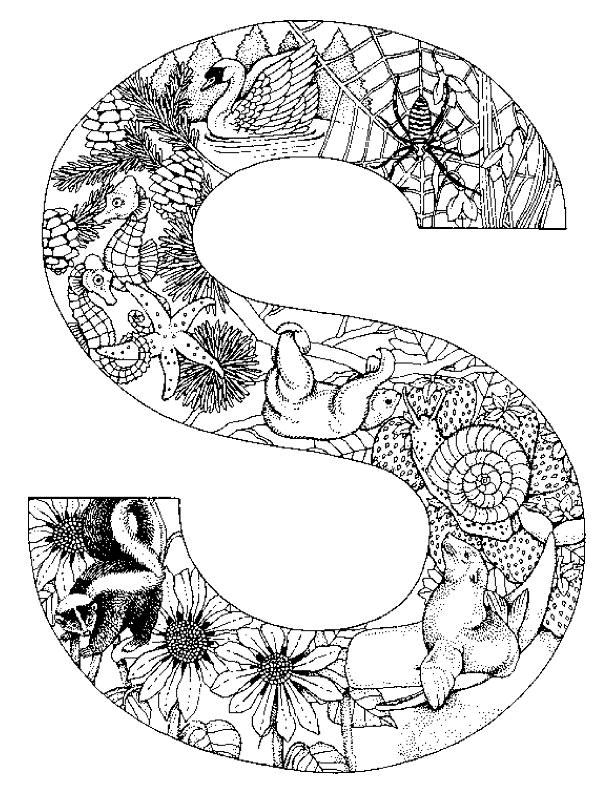Coloriage Lettre S de l'Alphabet et Animaux dessin gratuit ...