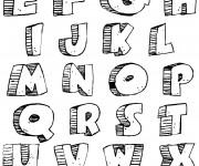 Coloriage et dessins gratuit Lettres de l'Alphabet en trois dimension à imprimer