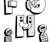 Coloriage et dessins gratuit Lettres de l'Alphabet humoristique à imprimer