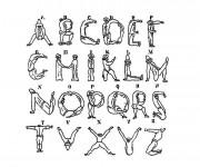 Coloriage et dessins gratuit Lettres de l'Alphabet par des personnes à imprimer
