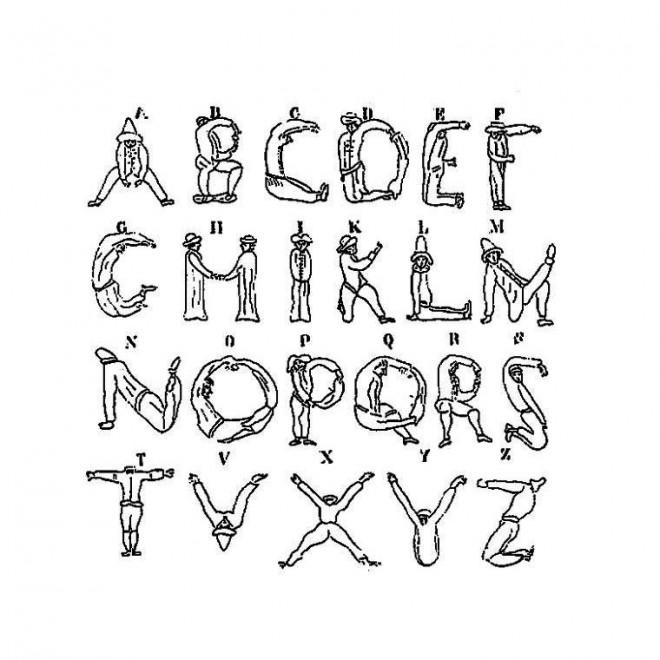 Coloriage lettres de l 39 alphabet par des personnes - Dessin lettres alphabet ...