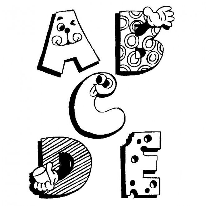 Coloriage Lettres Rigolotes De Lalphabet Dessin Gratuit à Imprimer