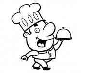 Coloriage et dessins gratuit Cuisinier Amusant à imprimer
