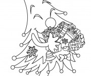 Coloriage et dessins gratuit Sapin de Noel humoristique à imprimer