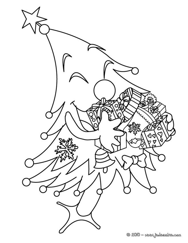 Coloriage sapin de noel humoristique dessin gratuit imprimer - Dessin sapin de noel facile ...