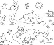 Coloriage Animaux de Ferme à colorier