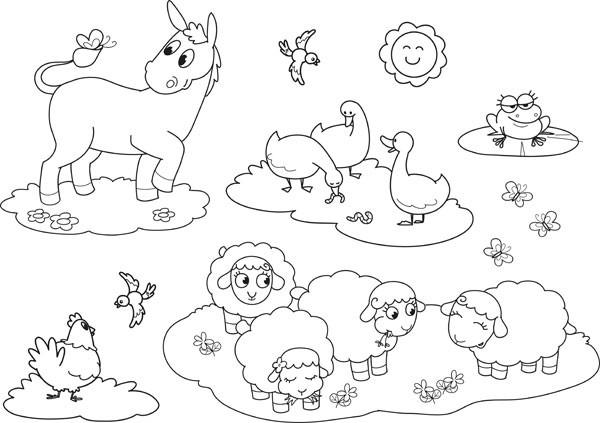 Coloriage Simple Animaux De La Ferme.Coloriage Animaux De Ferme A Colorier Dessin Gratuit A Imprimer
