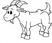 Coloriage Chèvre de Ferme souriant