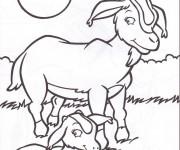 Coloriage Chèvre et son petit
