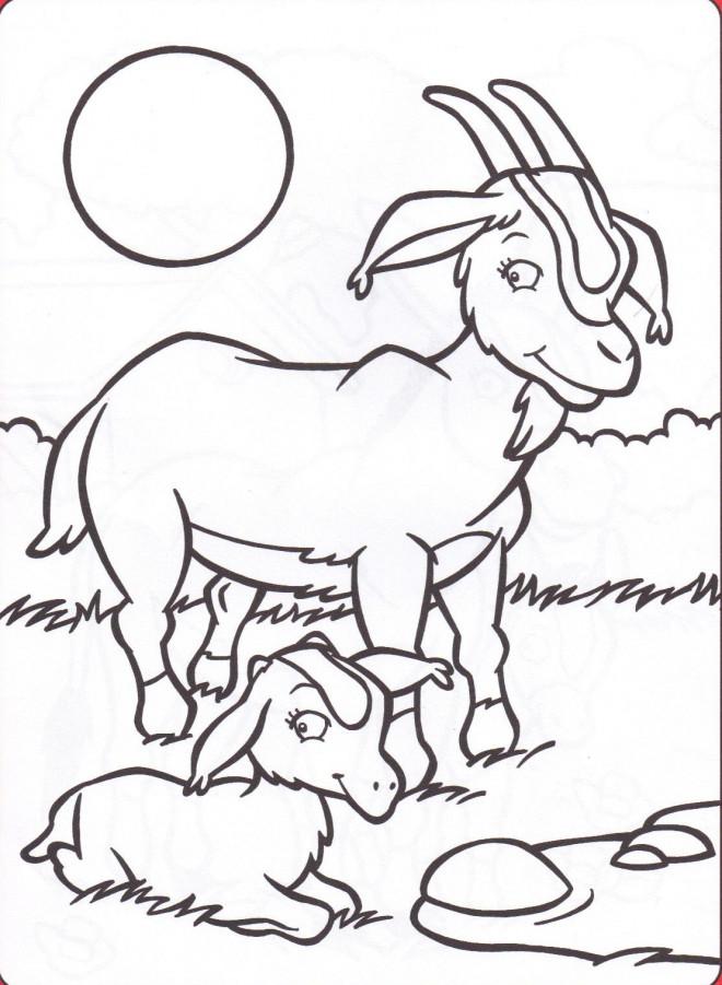 Coloriage et dessins gratuits Chèvre et son petit à imprimer