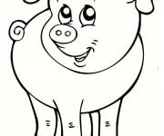 Coloriage Cochon de Ferme à découper
