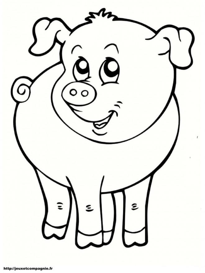 Coloriage et dessins gratuits Cochon de Ferme à découper à imprimer