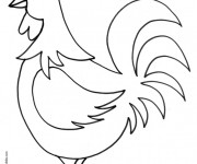 Coloriage Coq de Ferme facile