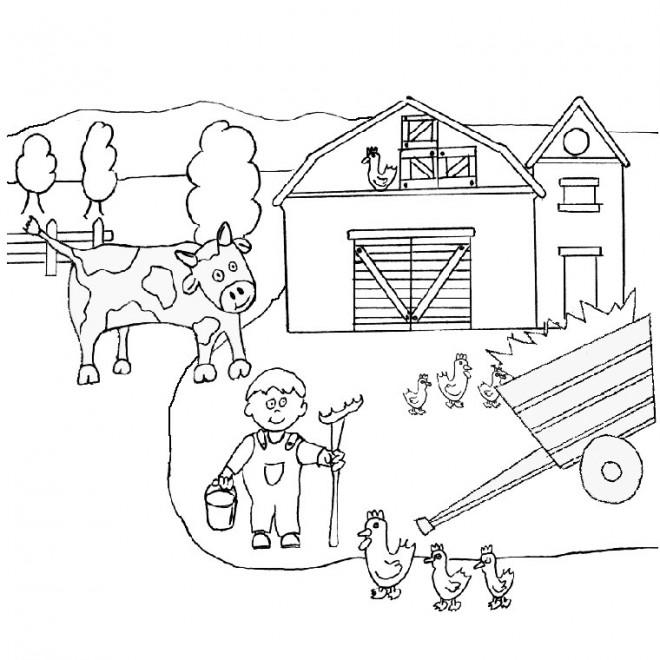 Coloriage fermier dans la campagne dessin gratuit imprimer - Coloriage campagne ...