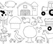 Coloriage Les animaux de la ferme facile