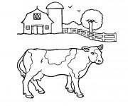 Coloriage Une vache de ferme