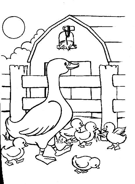 Coloriage et dessins gratuits Animaux de Ferme en Famille à imprimer