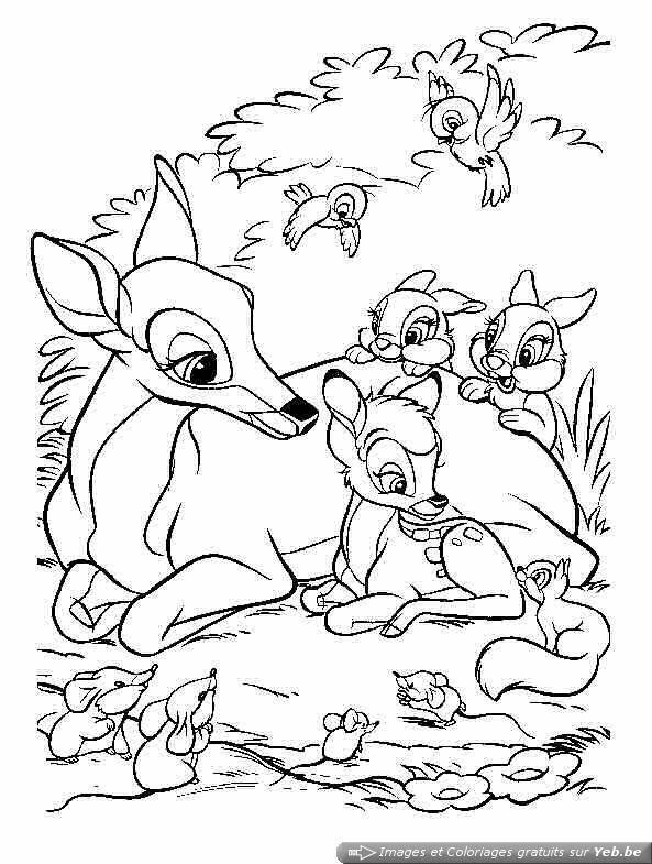 Coloriage et dessins gratuits Bambi et les animaux de la forêt à imprimer