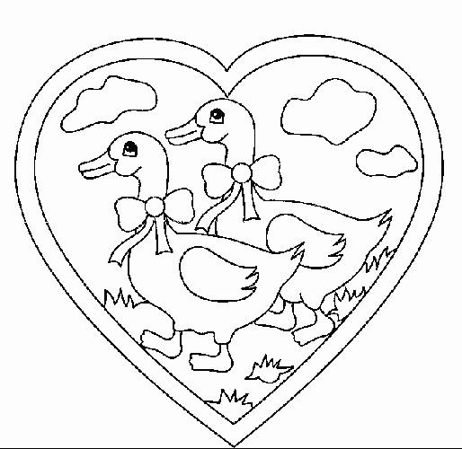 Coloriage et dessins gratuits Canards en amour à imprimer