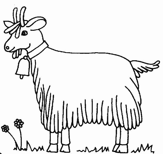 Coloriage et dessins gratuits Chèvre de ferme avec clochette à imprimer