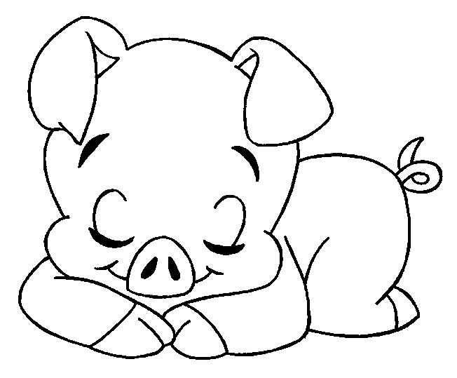 Coloriage et dessins gratuits Cochon dormant à imprimer