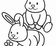 Coloriage et dessins gratuit Les petits Lapins s'amusent à imprimer