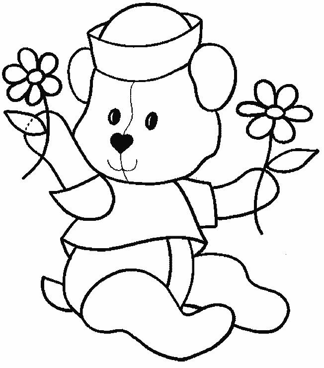 Coloriage ours et fleurs vecteur dessin gratuit imprimer - Coloriage en ligne animaux ...