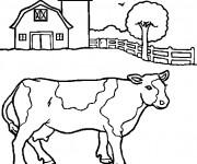 Coloriage et dessins gratuit Paysage d'une Vache à imprimer