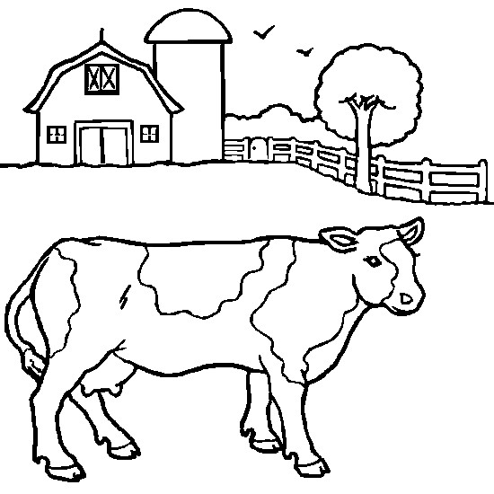 Coloriage Paysage d'une Vache dessin gratuit à imprimer