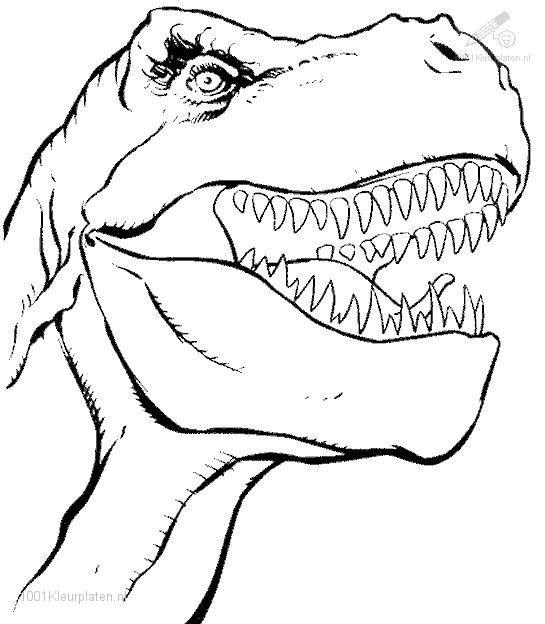 Coloriage Tête De Dinosaure De Jurassic Park