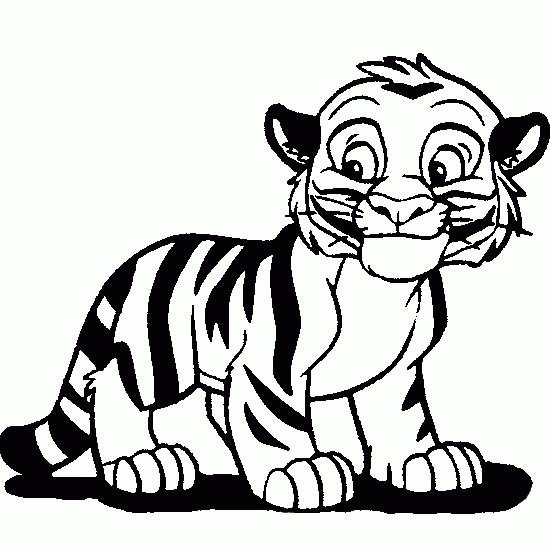 Coloriage et dessins gratuits Un petit Tigre souriant à imprimer