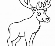 Coloriage et dessins gratuit Cerf dans La Forêt facile à imprimer