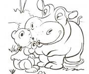 Coloriage et dessins gratuit Hippopotame et Ourson de la Forêt à imprimer