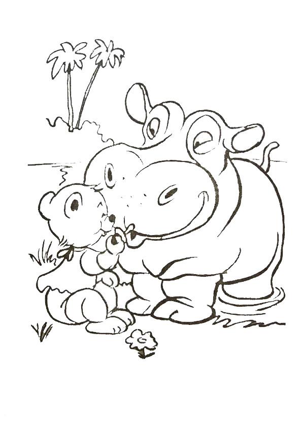 Coloriage et dessins gratuits Hippopotame et Ourson de la Forêt à imprimer