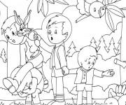 Coloriage Les Enfants dans la Forêt