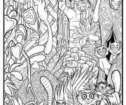 Coloriage et dessins gratuit petits singes de la jungle à imprimer