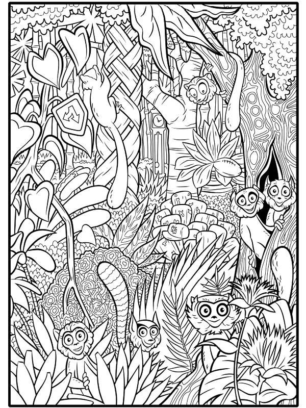 Coloriage et dessins gratuits petits singes de la jungle à imprimer