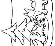 Coloriage et dessins gratuit Renard sur la neige à imprimer