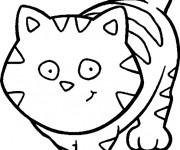 Coloriage et dessins gratuit Un Gros Chat à découper à imprimer