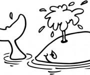 Coloriage et dessins gratuit Baleine sur La Mer à imprimer